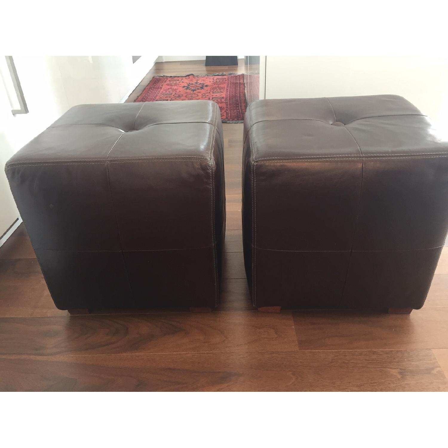 Pottery Barn Leather Square Ottoman - image-1