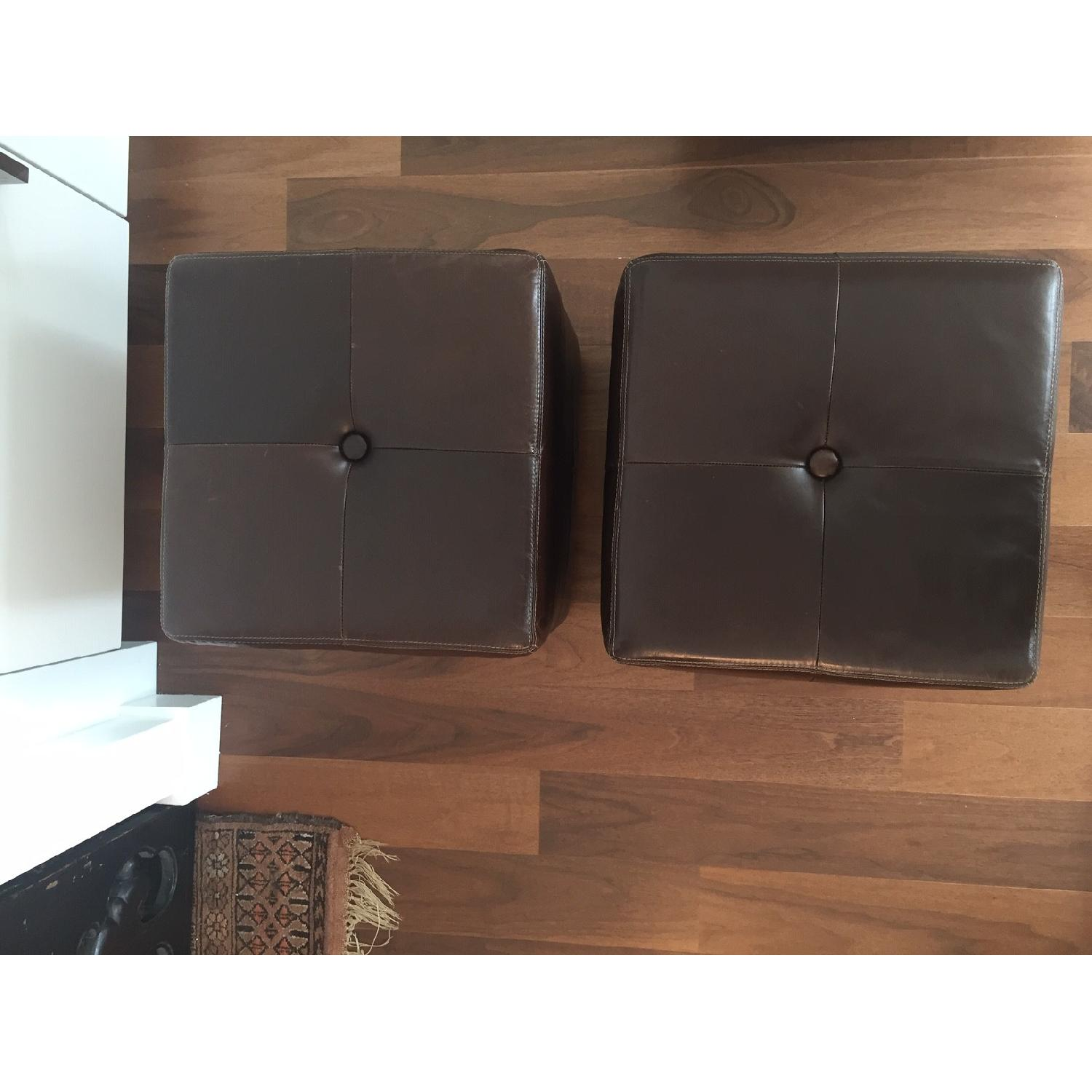 Pottery Barn Leather Square Ottoman - image-2
