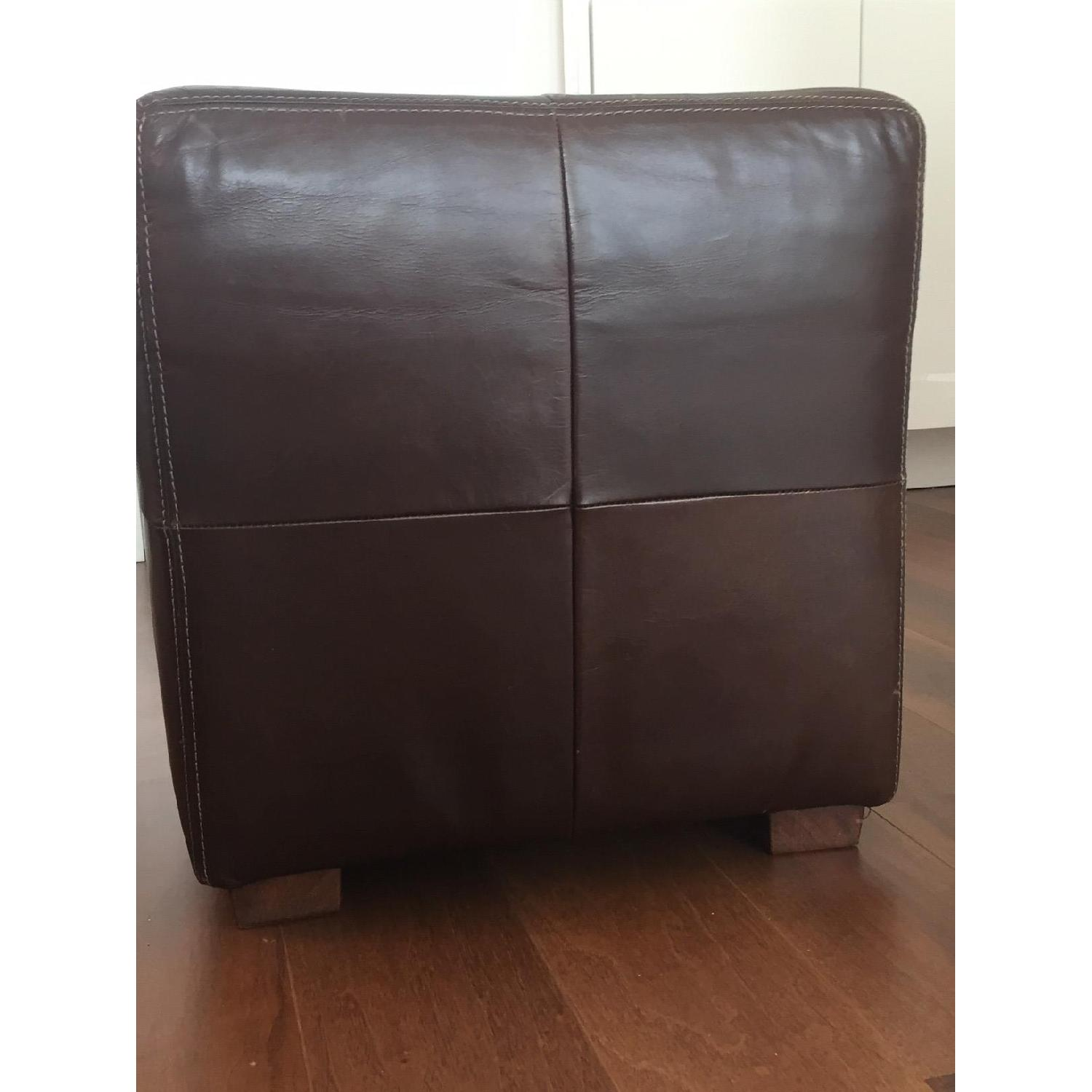 Pottery Barn Leather Square Ottoman - image-3
