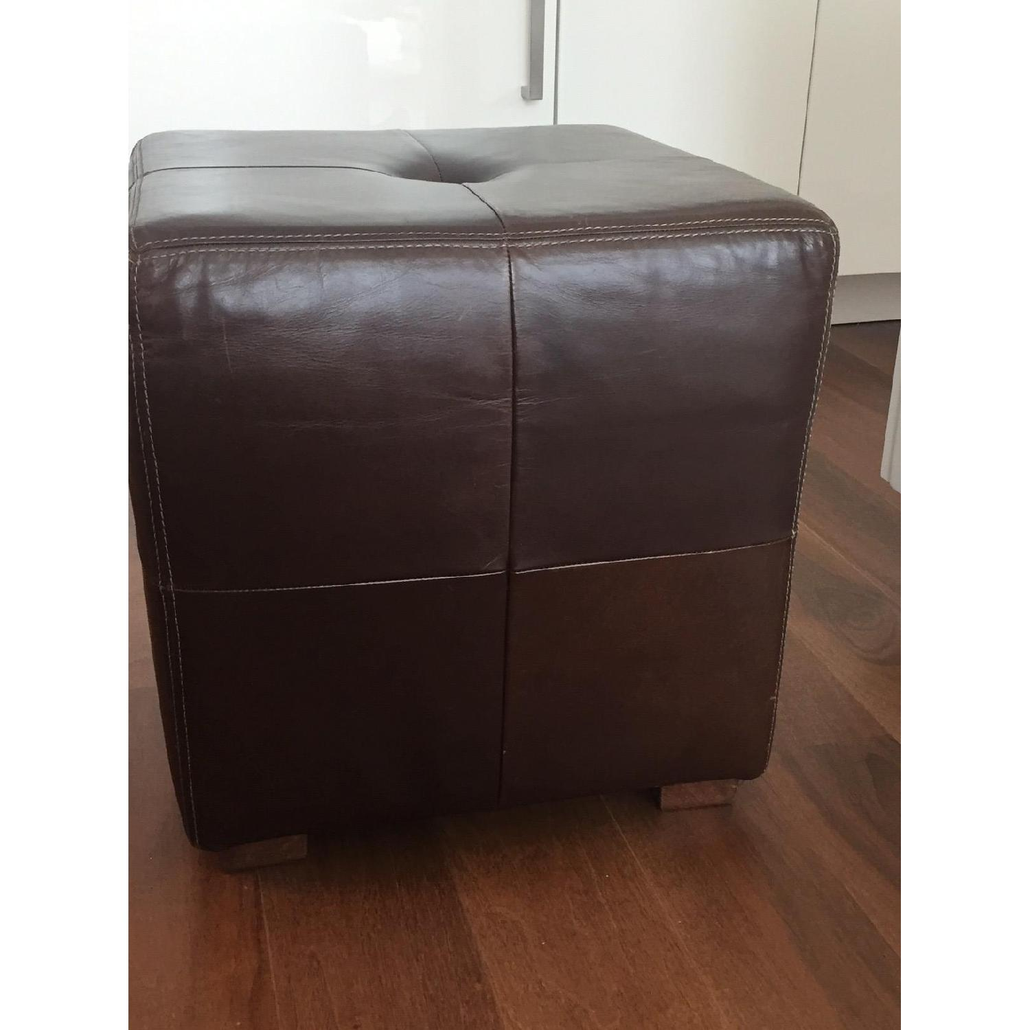 Pottery Barn Leather Square Ottoman - image-4