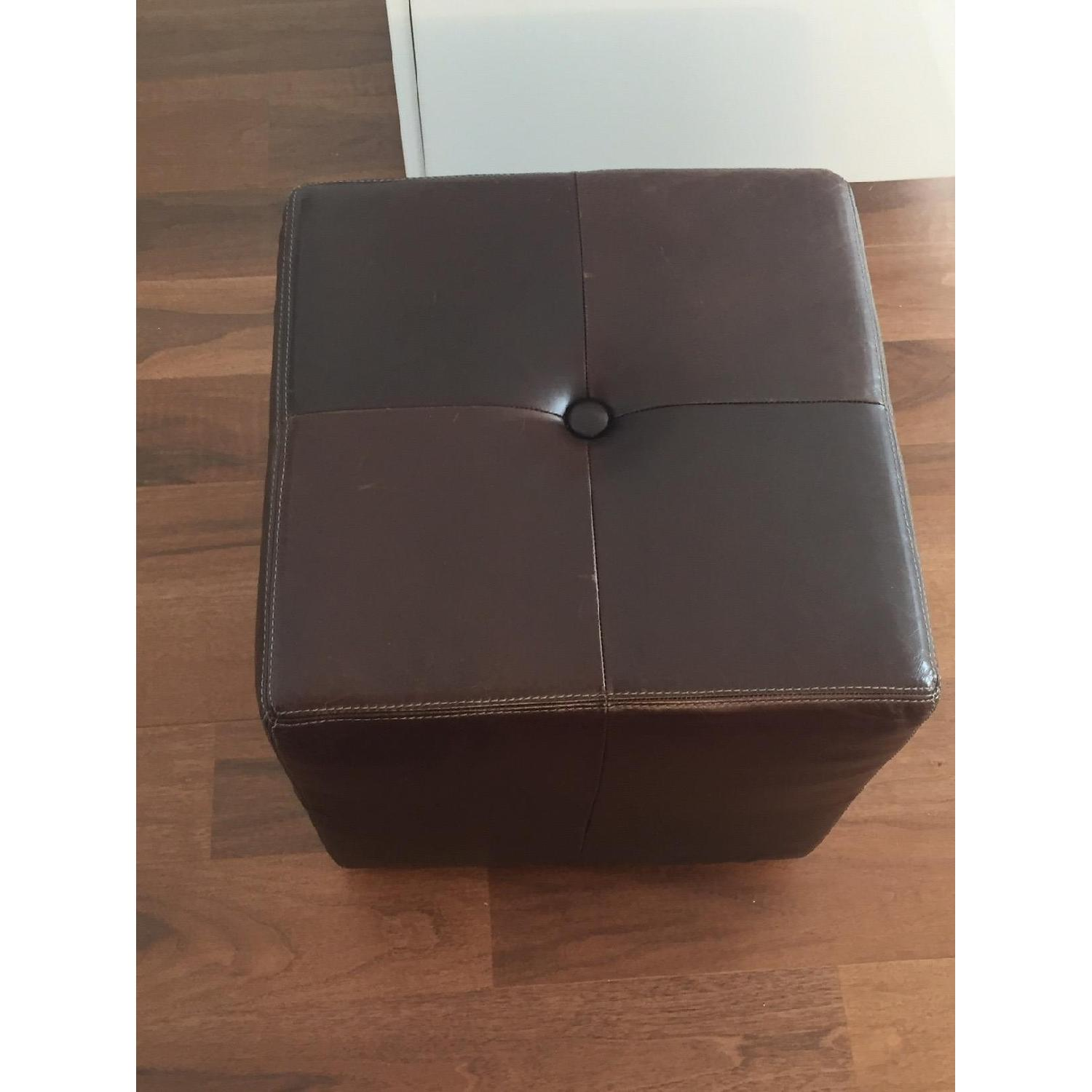 Pottery Barn Leather Square Ottoman - image-5