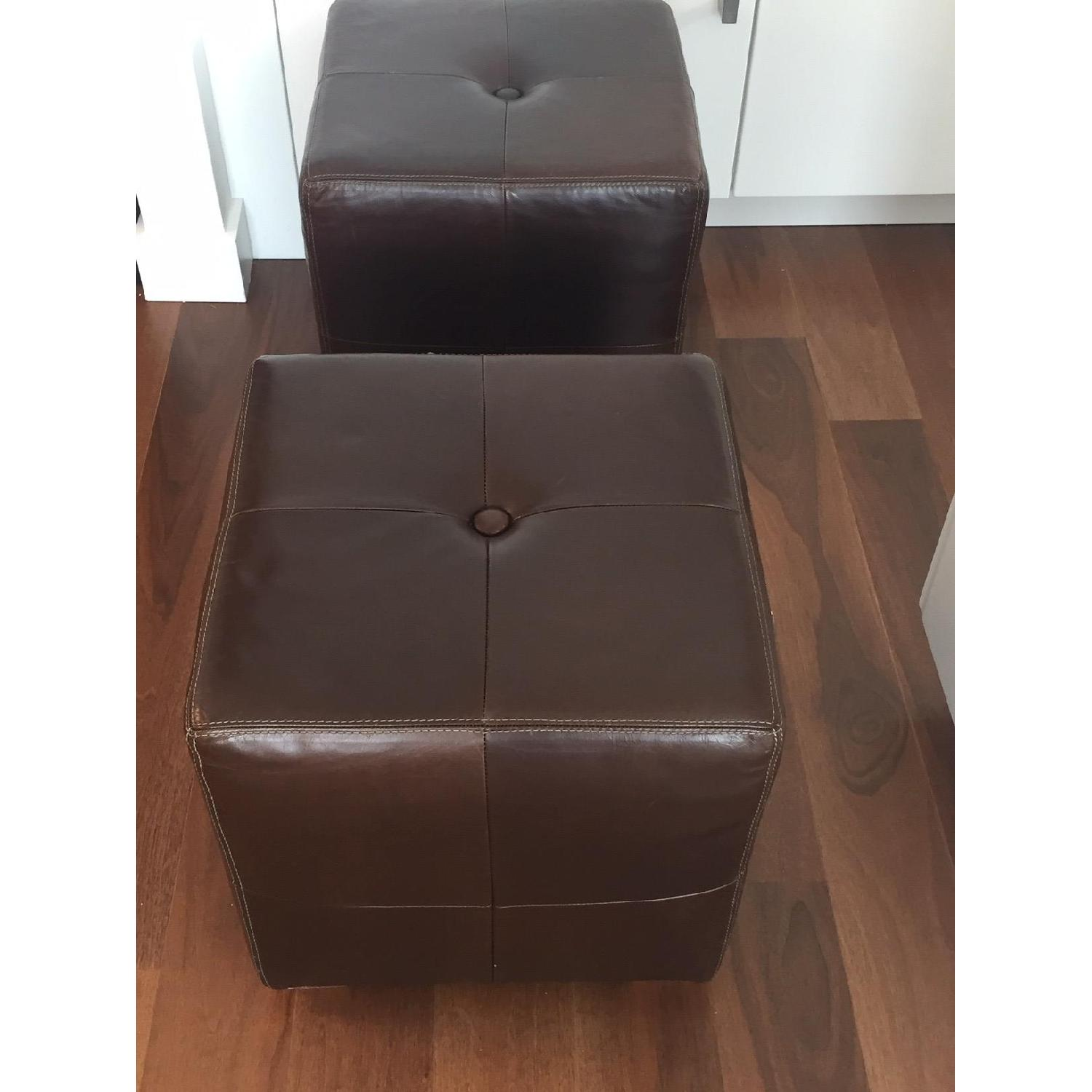 Pottery Barn Leather Square Ottoman - image-6