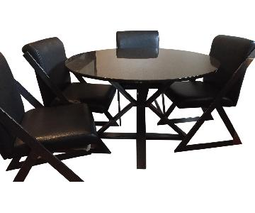 Custom Granite Top Table w/ 4 Leather Chairs