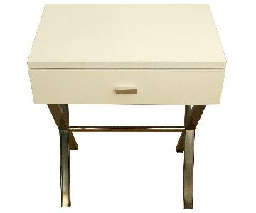 White 1-Drawer Side Tables