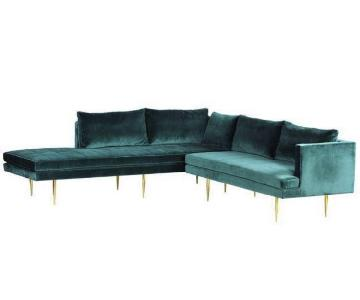 Organic Modernism Ella Sectional Sofa in Deep Green Velvet