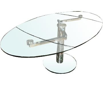 Extendable Oval Glass Dining Table