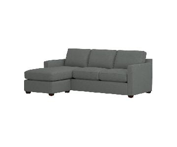 Crate & Barrel Davis Gray Reversible Sectional Sofa