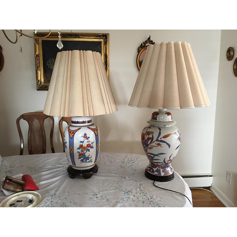 Vintage Knob Creek Ceramic White /Blue/Orange Table Lamps