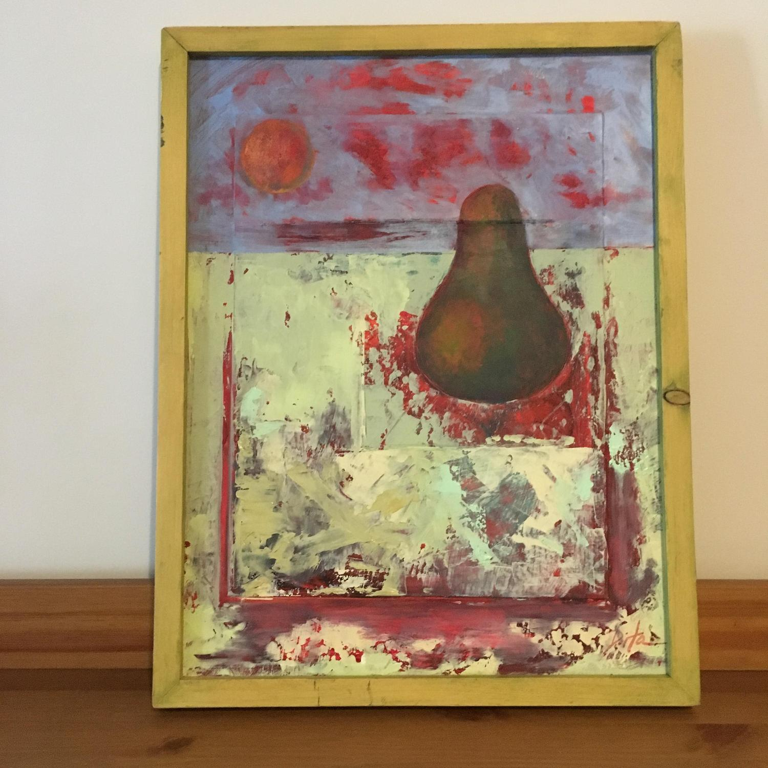 Framed Painting Pear on Wood - image-1
