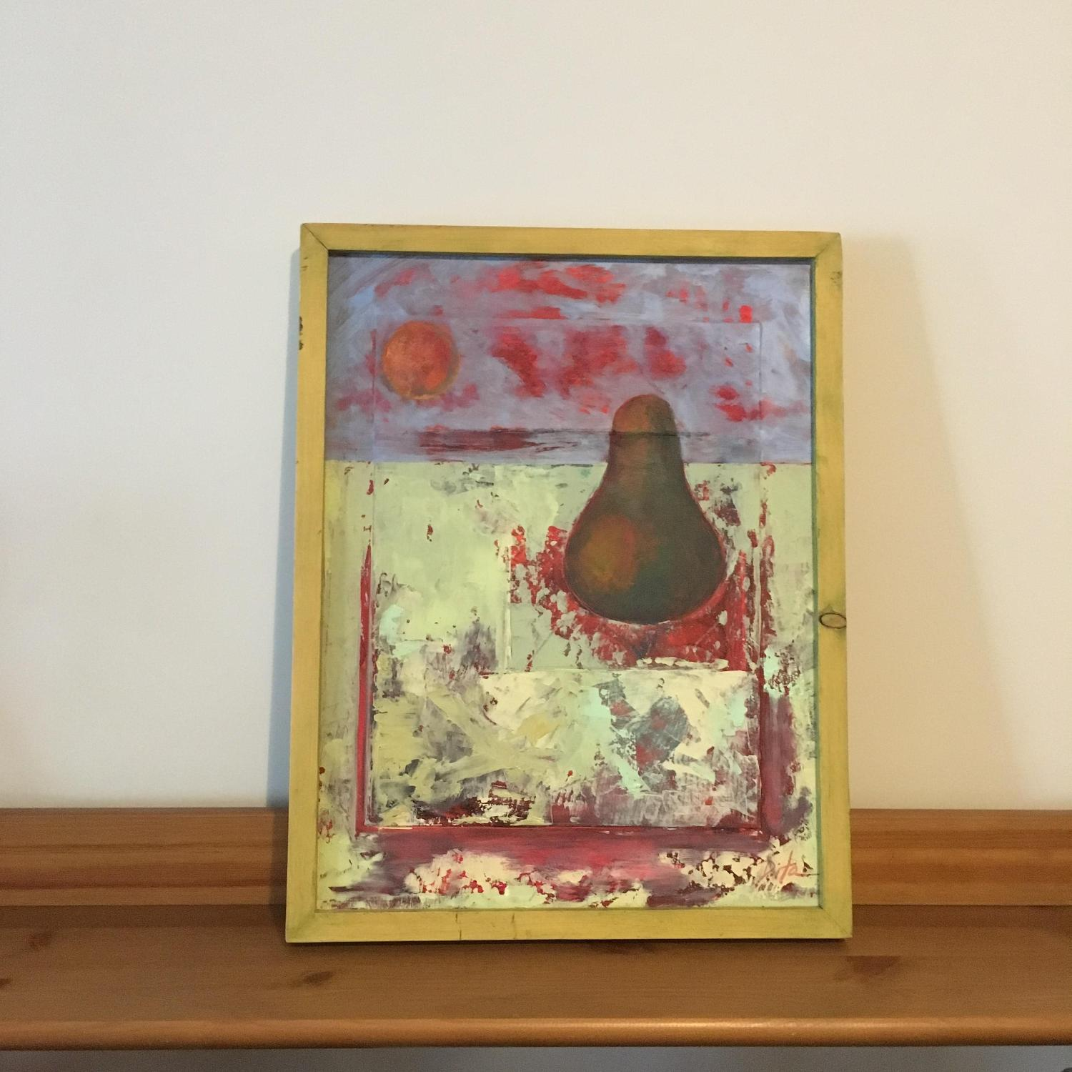 Framed Painting Pear on Wood - image-2