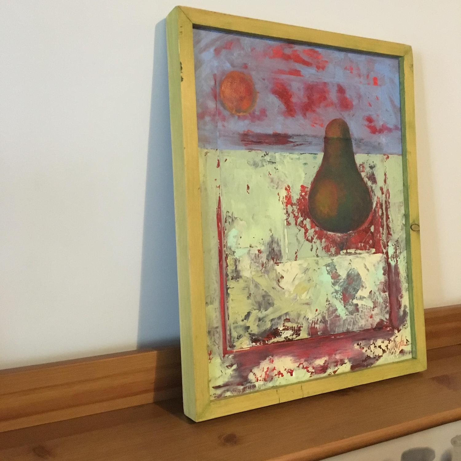 Framed Painting Pear on Wood - image-3