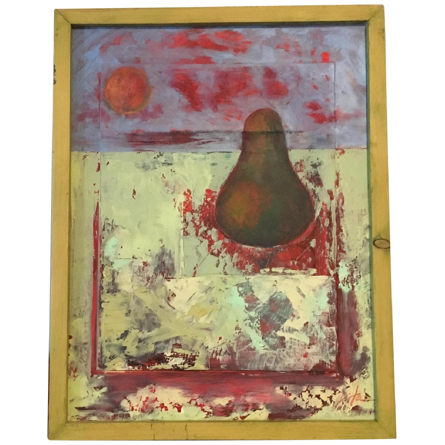 Framed Painting Pear on Wood - image-0