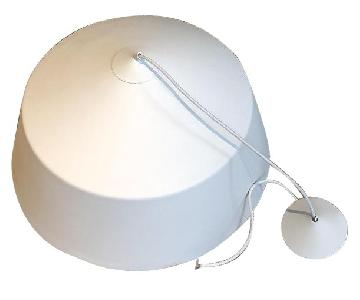 Matte White Metal Modern Pendant Lamp w/ Brass Interior