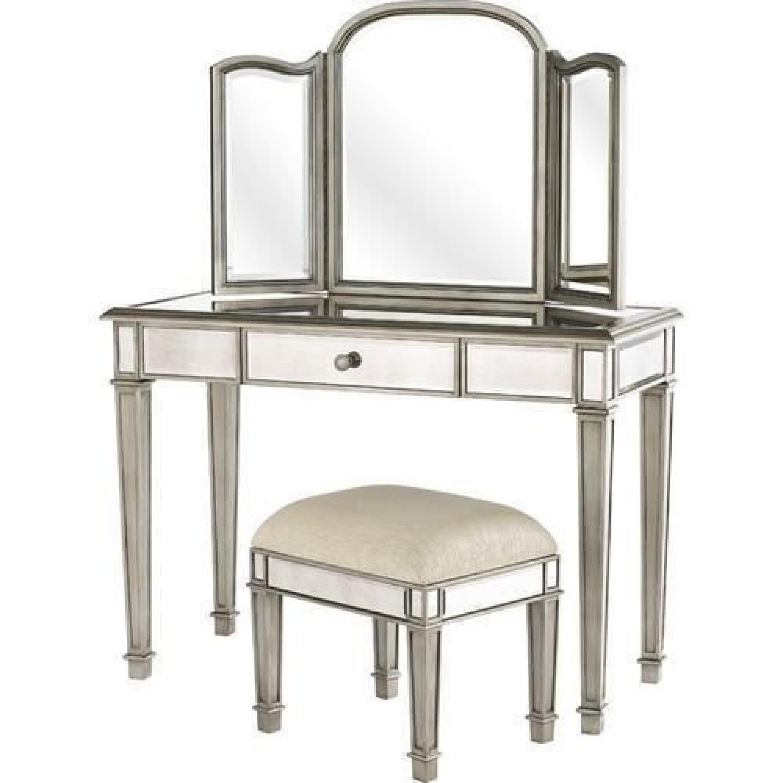 Pier 1 Mirrored Vanity Table w/ Mirror & Seat