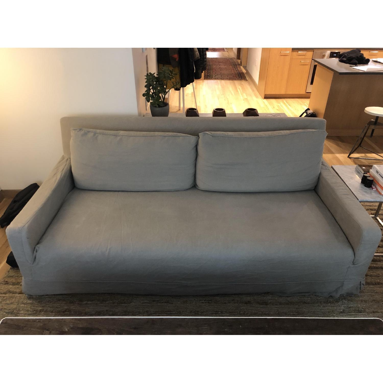 Restoration Hardware Linen Slipcover Sofa - image-1