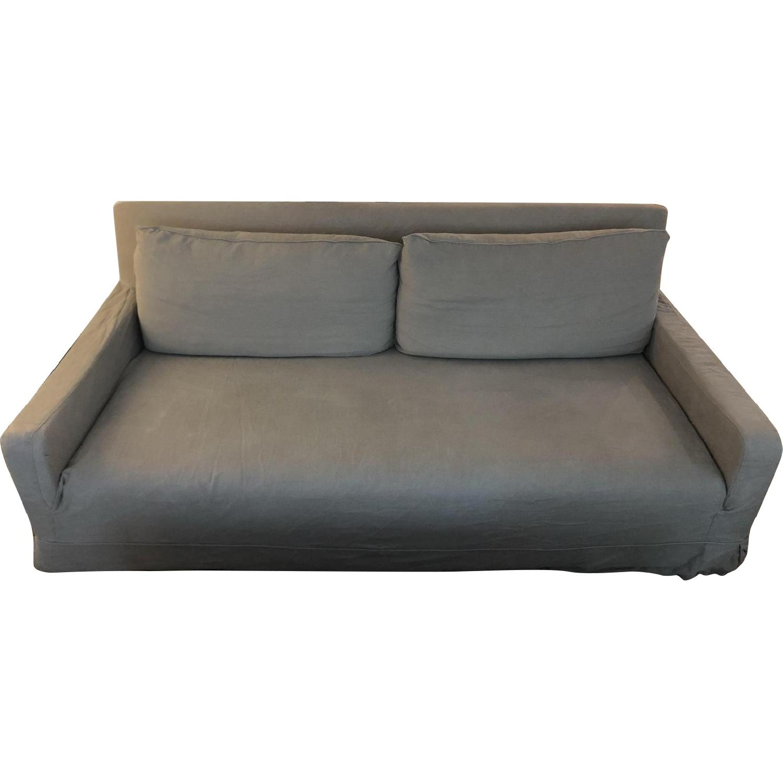 Restoration Hardware Linen Slipcover Sofa - image-0