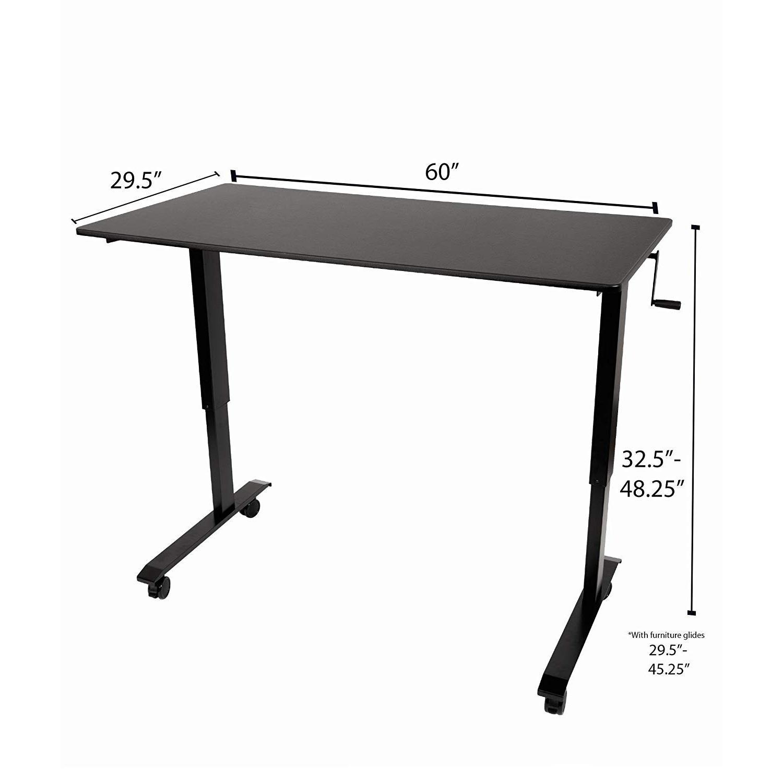 Stand Up Desk Crank Charcoal Adjustable Height Standing Desk - image-2