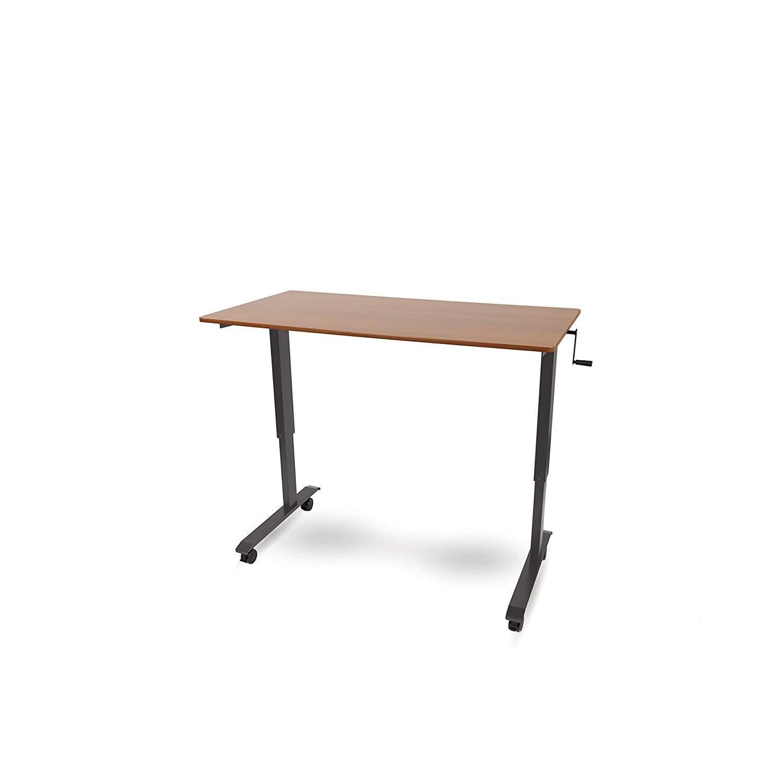 Stand Up Desk Crank Charcoal Adjustable Height Standing Desk - image-3