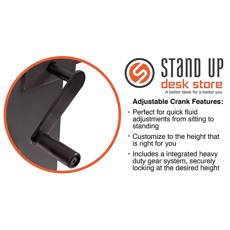 Stand Up Desk Crank Charcoal Adjustable Height Standing Desk - image-4