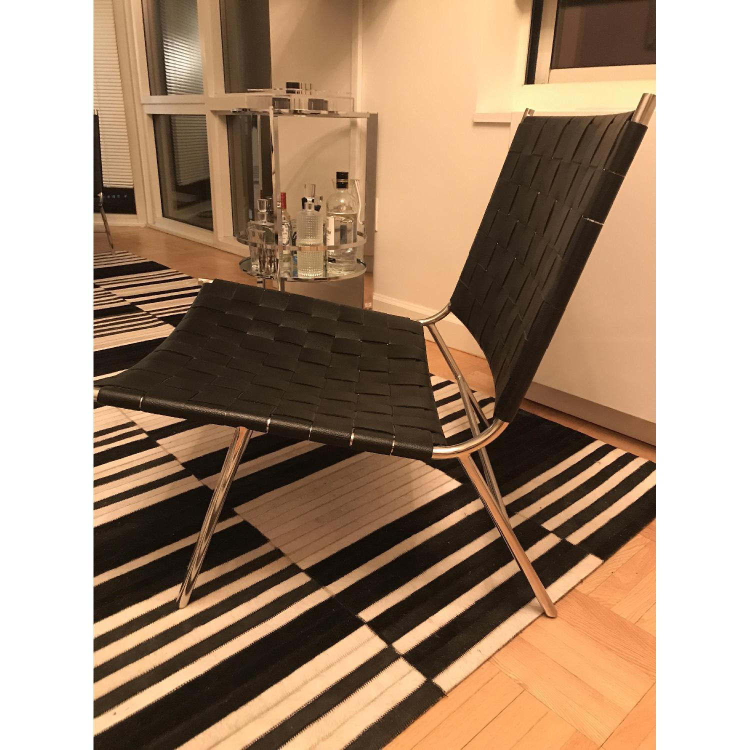 CB2 Black Woven Leather Chairs-1