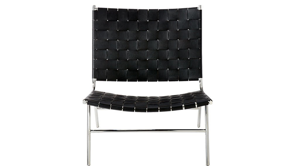 CB2 Black Woven Leather Chairs