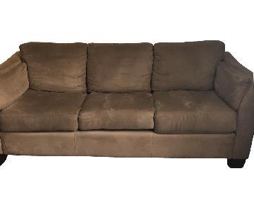 Jennifer Convertibles Beige Suede 3-Seater Sofa