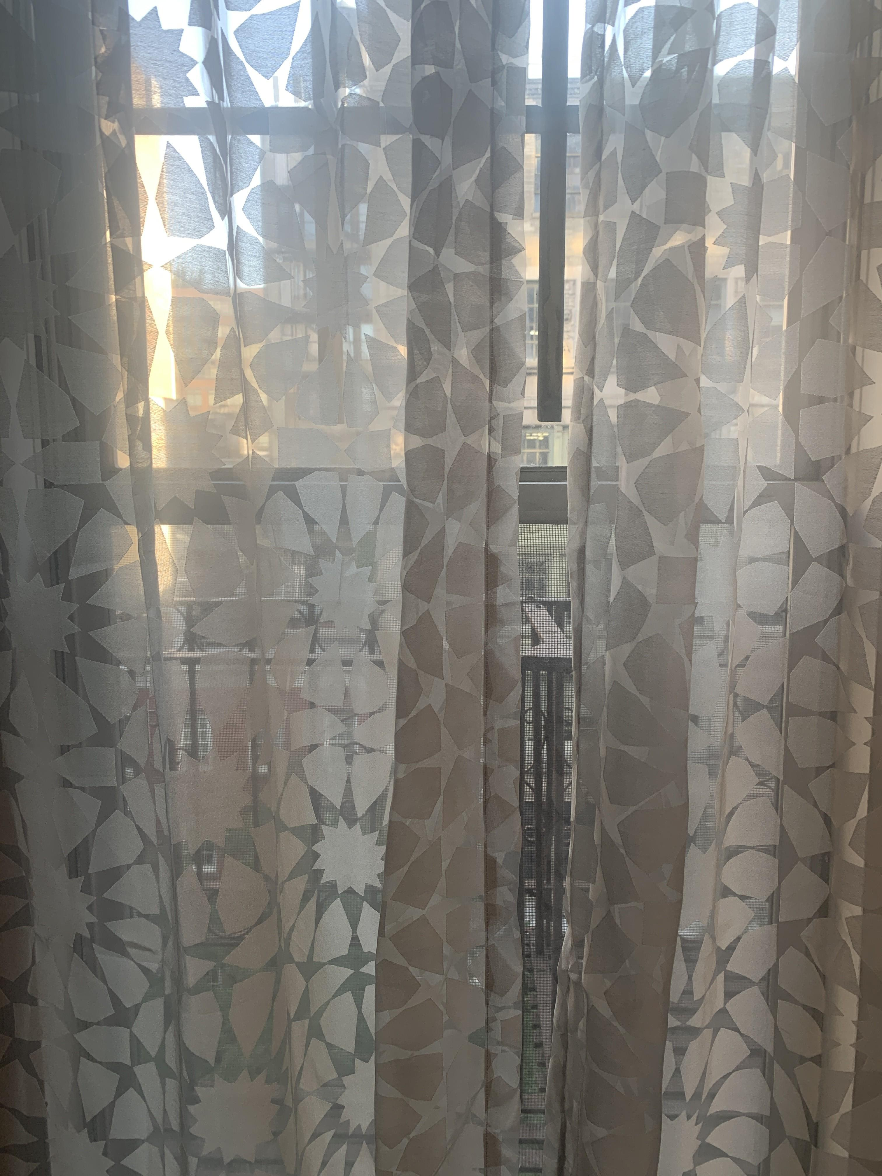 West Elm Grey/Silver Transparent Curtains