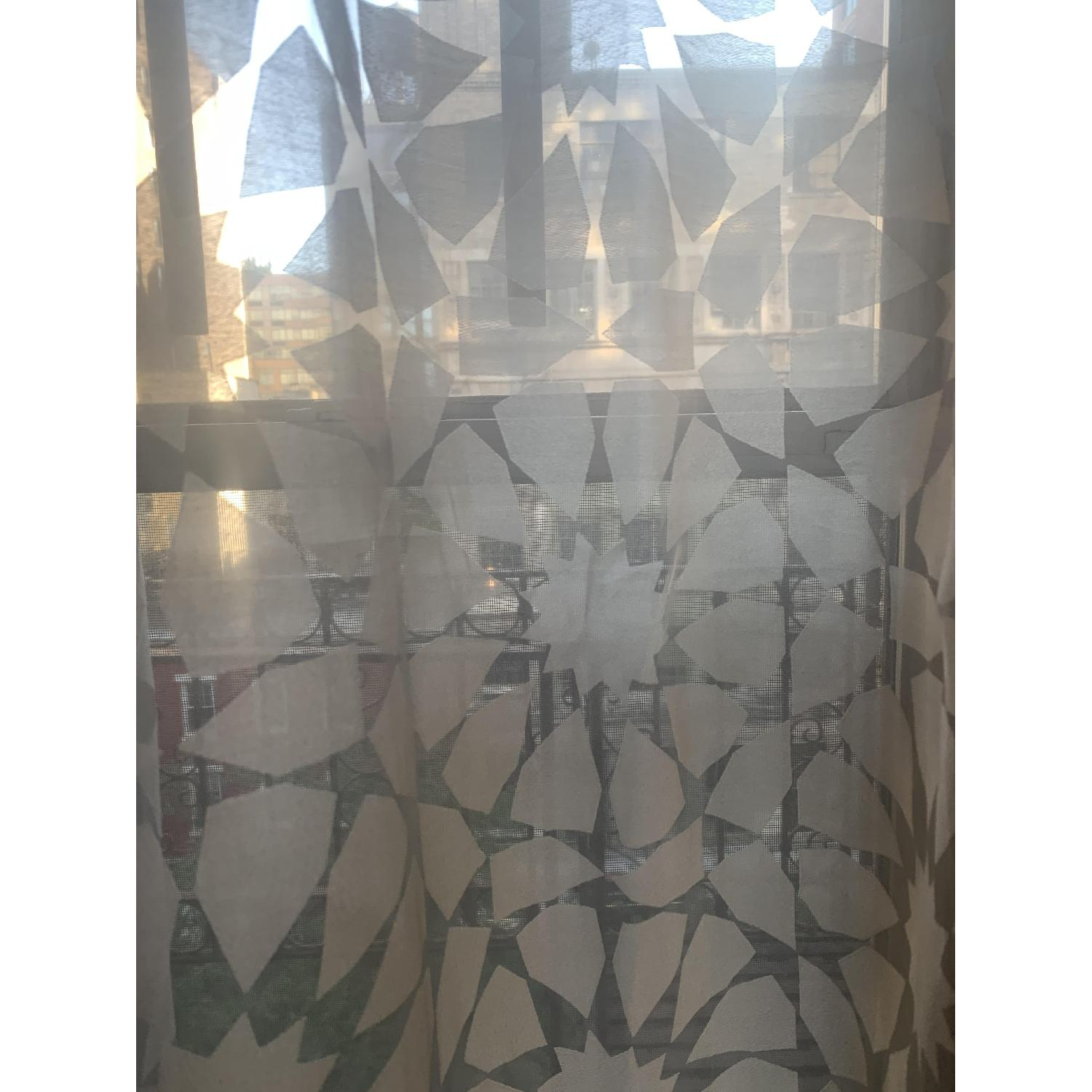 West Elm Grey/Silver Transparent Curtains-0