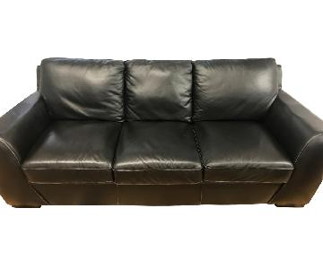 Knoll Black Leather Sofa