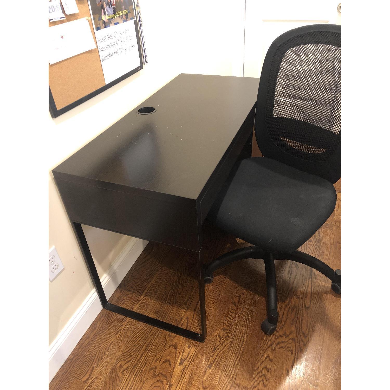 Ikea Micke Black Study Desk & Flintan Swivel Chair