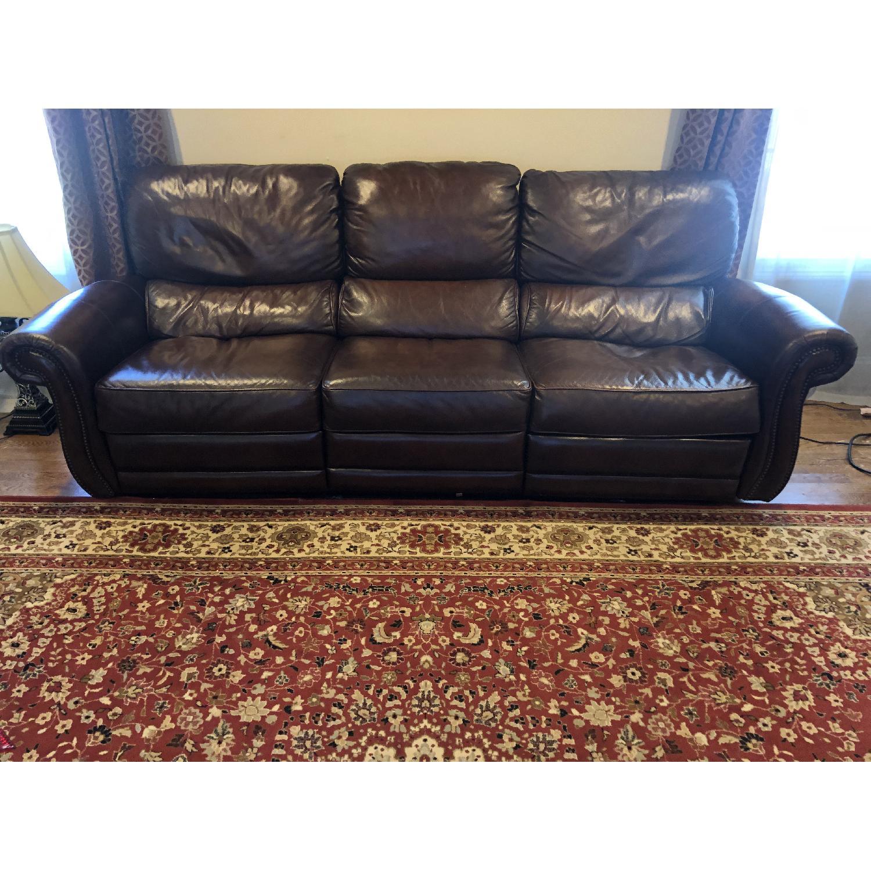 Raymour & Flanigan Top Grain Soft Leather Reclining Sofa-0