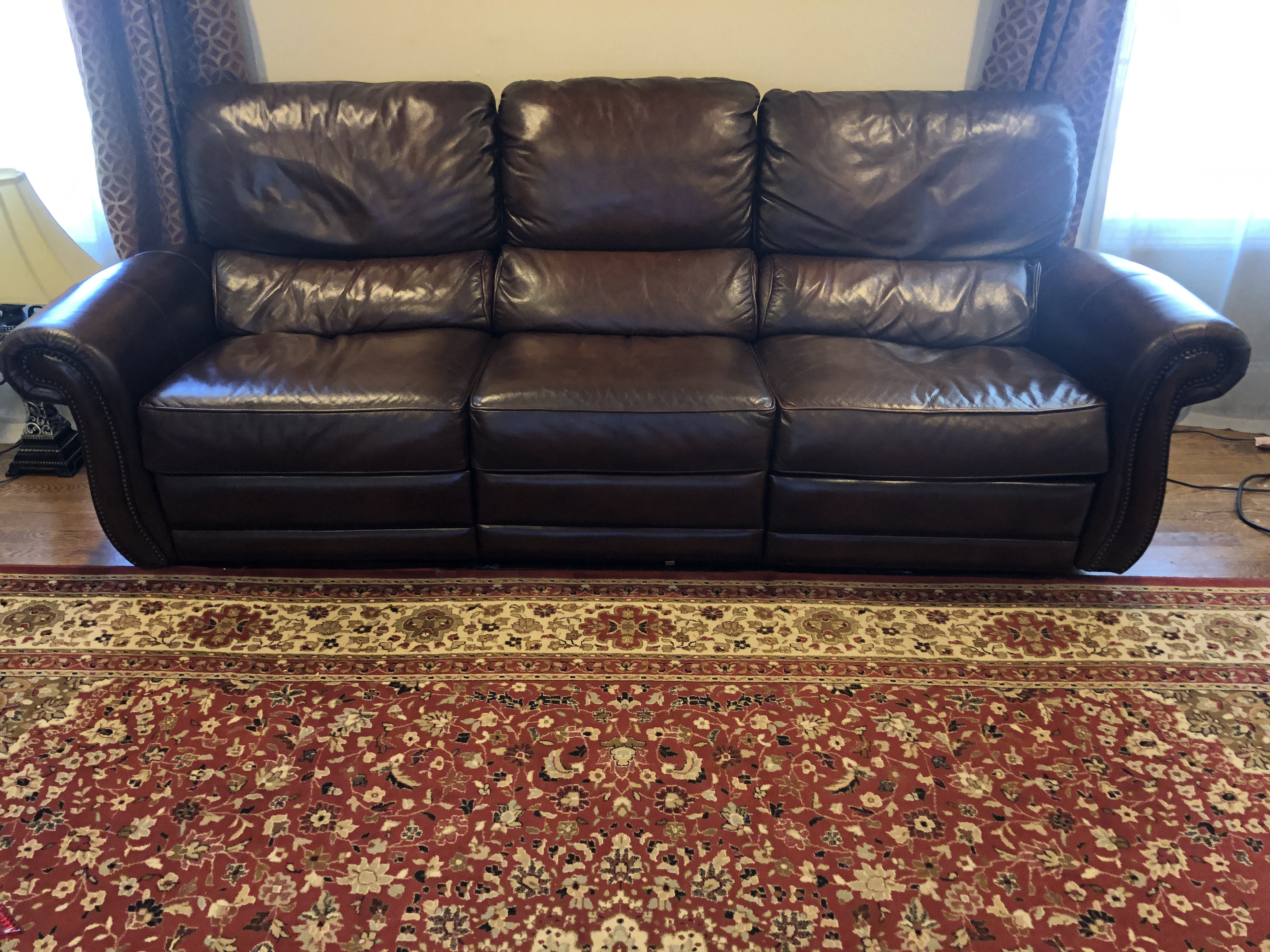 Raymour & Flanigan Top Grain Soft Leather Reclining Sofa