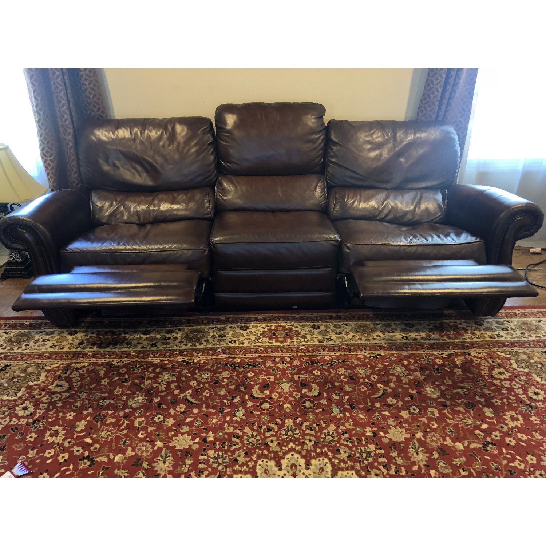 Raymour & Flanigan Top Grain Soft Leather Reclining Sofa-1