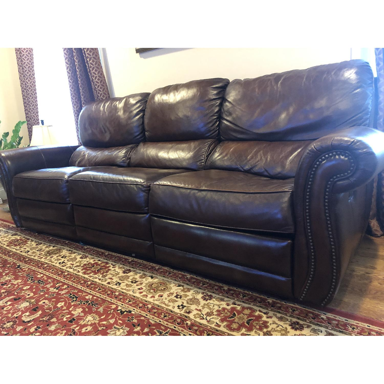 Raymour & Flanigan Top Grain Soft Leather Reclining Sofa-2
