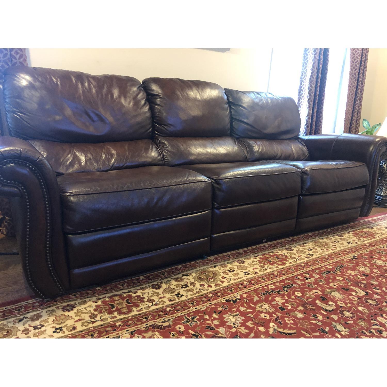 Raymour & Flanigan Top Grain Soft Leather Reclining Sofa-4