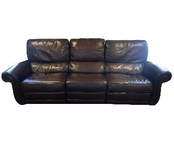 Raymour & Flanigan Top Grain Soft Leather Reclining Sofa