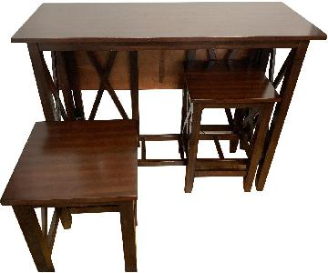 Pier 1 Dark Wood Dining Table w/ 2 Stools