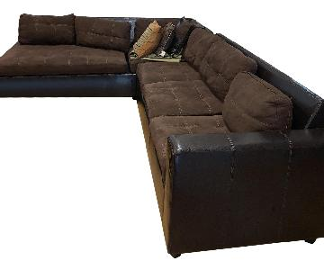 Black Leather 2-Piece Sectional Sofa
