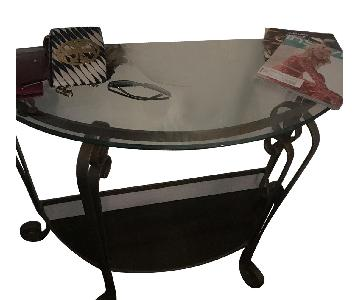 Iron Detailed Half Moon Side Key Table