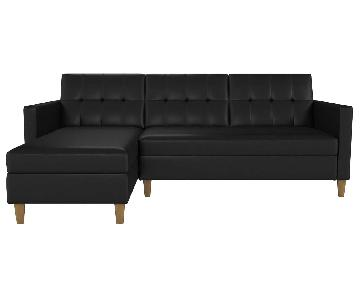 Stigall Black Leather Twin Sleeper Sectional Sofa