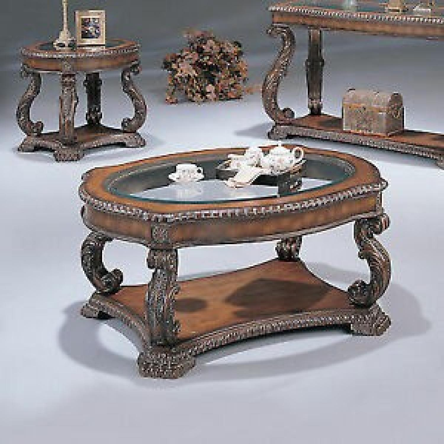 Antique Brown Coffee Table w/ Glass Top - image-2