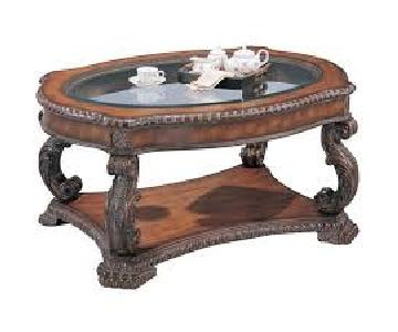 Antique Brown Coffee Table w/ Glass Top