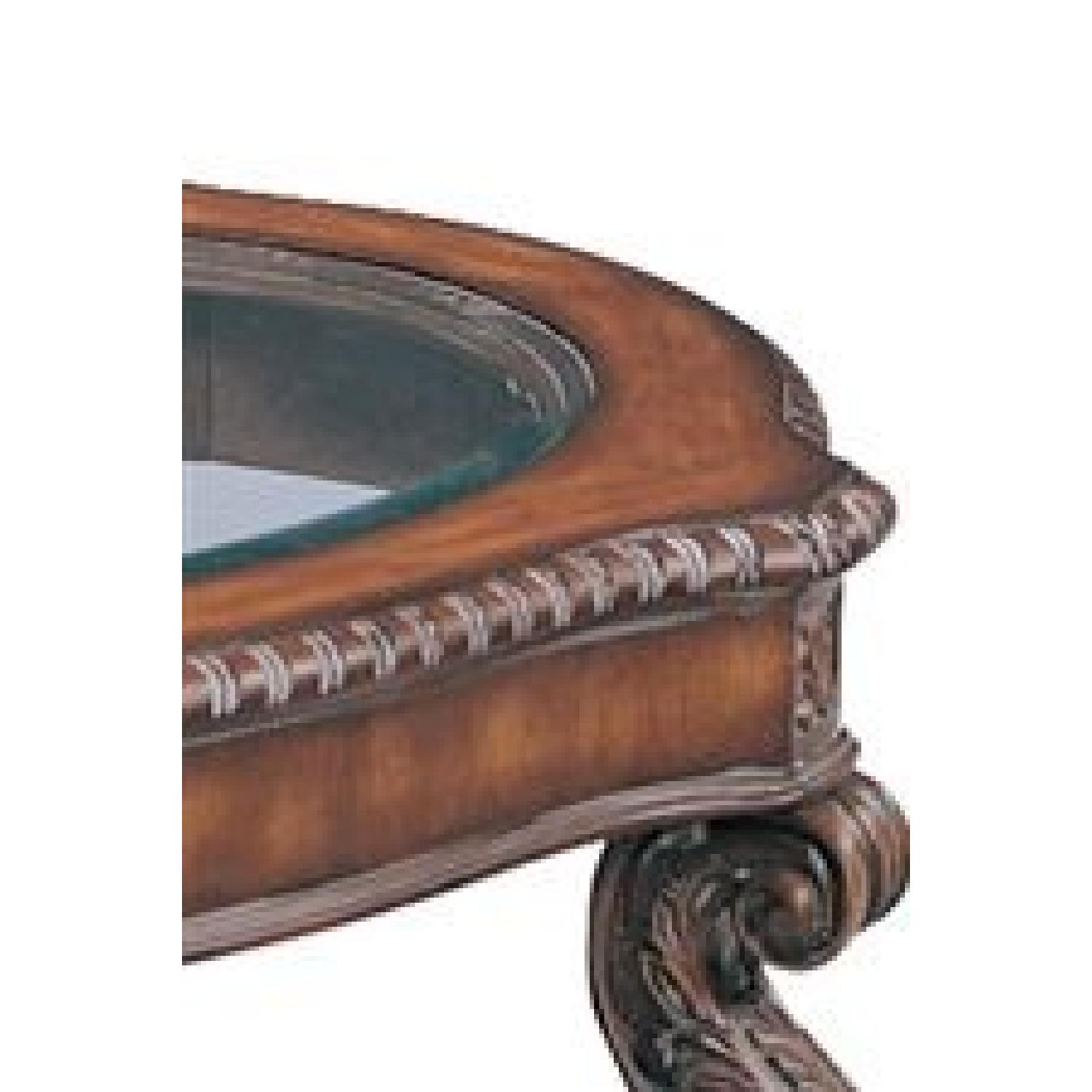 Antique Brown Coffee Table w/ Glass Top - image-3