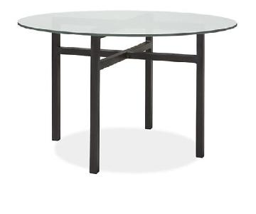 Room & Board Benson Round Tempered Glass Dining Table