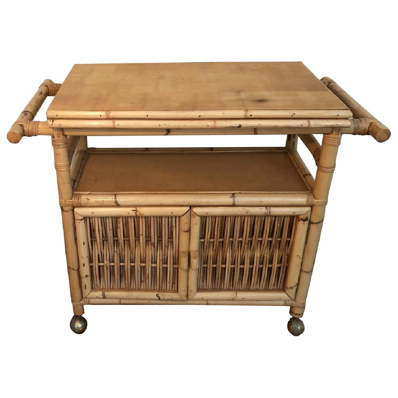 Polynesian Antique Oak & Bamboo Convertible Media Cabinet - image-0