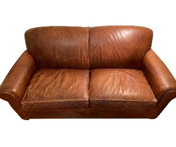 Crate & Barrel Leather Loveseat