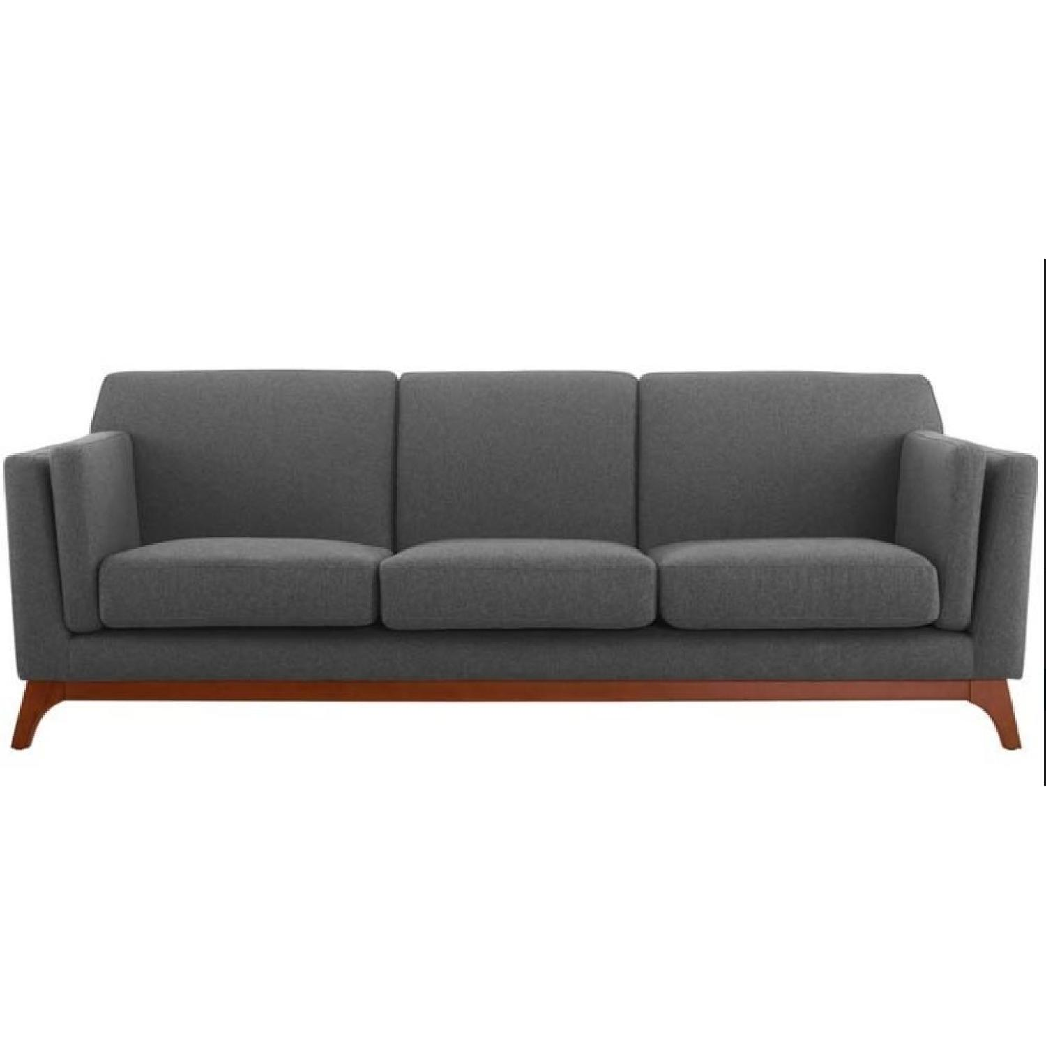 Grey Upholstered Fabric Sofa-0
