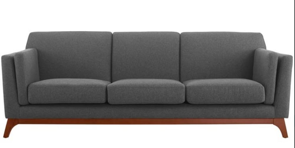 Grey Upholstered Fabric Sofa