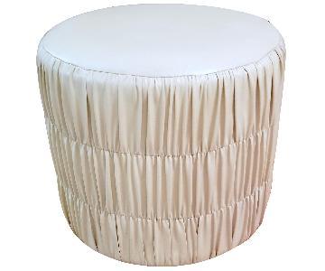 Round Faux Vegan Leather Ottoman