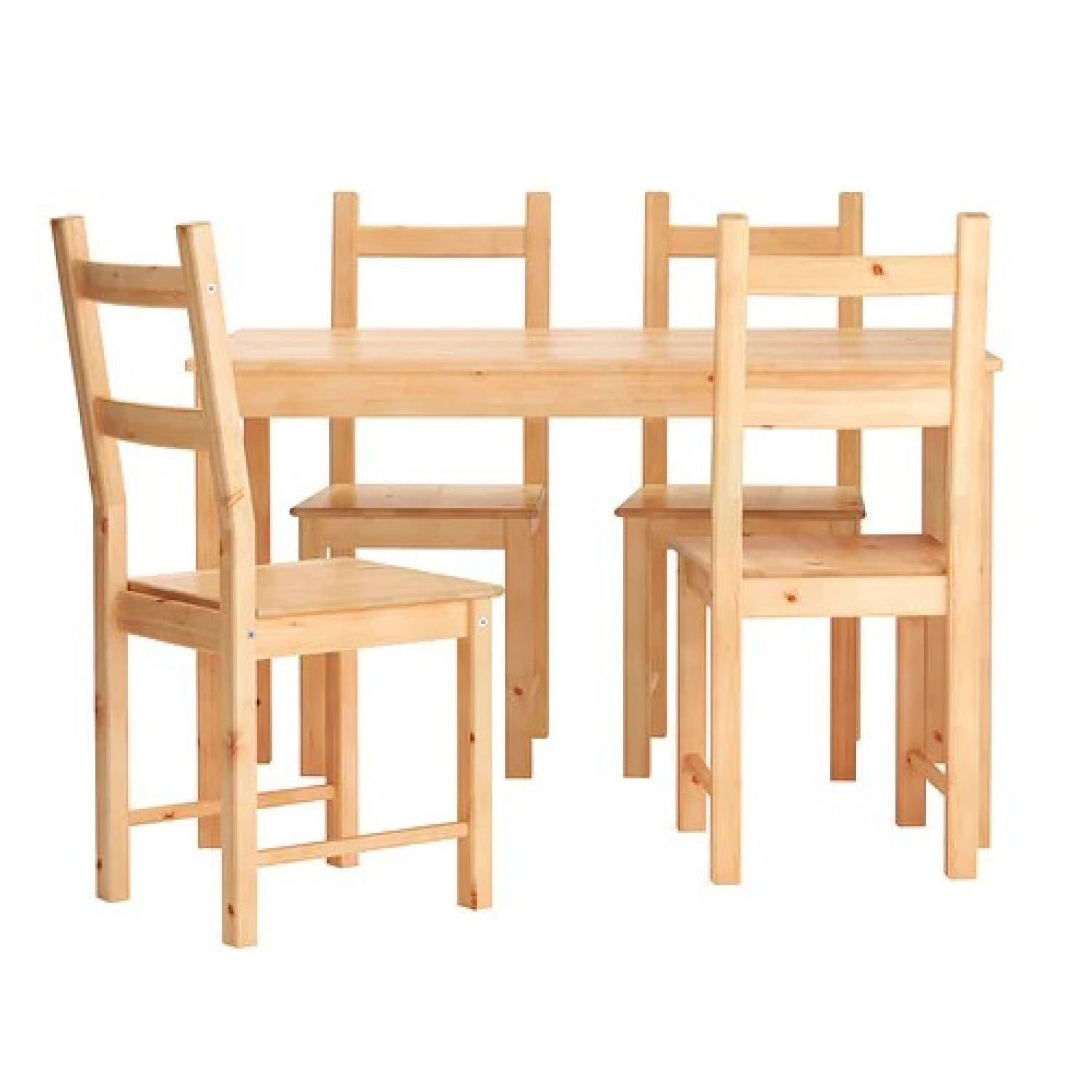Ikea Ingo Natural Pinewood Dining Table w/ 4 Chairs - image-0